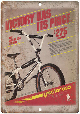 "Vector USA Victory BMX - 10"" x 7"" Metal Sign - Vintage Look Reproduction"