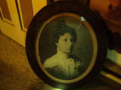 1800s Old West Victorian Womans Portrait Picture Oval Frame Western Decor Large