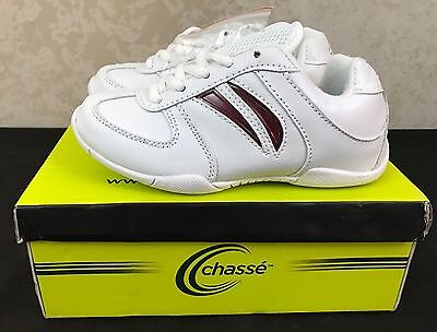 NIB Chassé Flip III Cheerleading Shoes Youth Size 12.5 White w/ Color Inserts