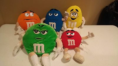 M&M soft plush characters. Red, Yellow, Blue, Green and Orange