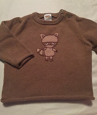 Gymboree Cozy Critters Raccoon Boys Sweater Size 6-12 Months