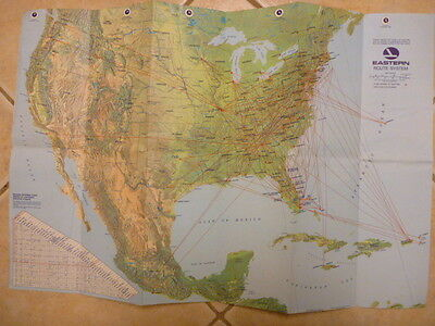 Vintage 1970 Huge Eastern Airlines Route Map- Colorful! RARE