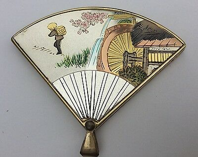 Vintage Ykk Japan Scene Fan Compact Mirror &picture Frame Cherry Blossom W/box