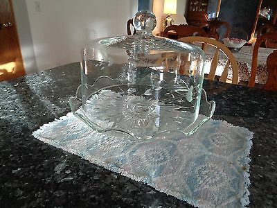 Princess House Heritage Crystal Dome Lid Cake Pastery Pedestal Stand Server