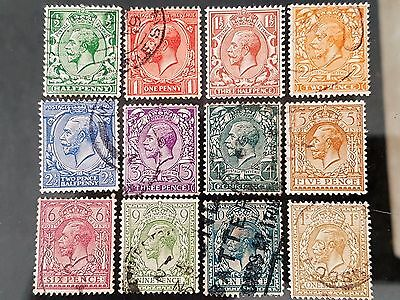 Great Britain GB Sg # 418 - Sg # 429 Wmk Block Cypher Used Stamps Set Collection