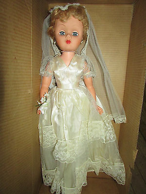 "LOVELY VINTAGE 1950s ? 24"" BRIDE DOLL - ALL ORIGINAL IN BOX /  MARKED ""A"""