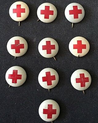 10 Vintage Red Cross Volunteer Or Blood Donor Geraghty Pin Back Buttons
