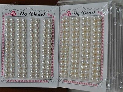 Stunning Wholesale 96 PCS (1card) white half drilled Freshwater Pearl