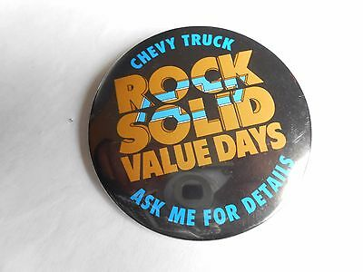 Cool Vintage Chevy Truck Rock Solid Value Days Chevrolet Advertising Pinback