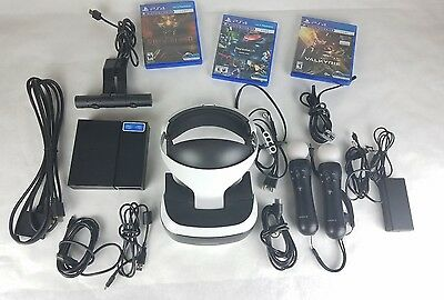 Sony PlayStation VR bundle, motion controllers, games.