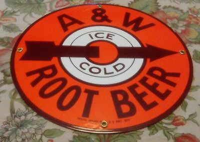 """Vintage A&W Ice Cold Root Beer Advertising 12"""" Dia X .125"""" Thick Porcelain Sign"""