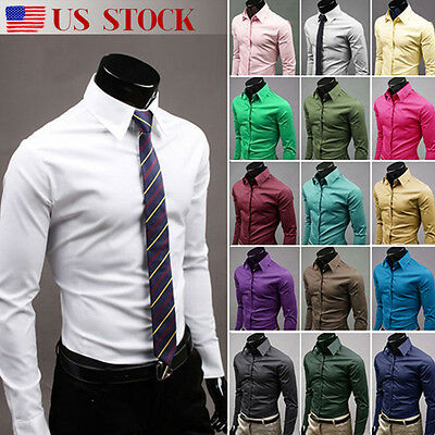 Luxury Men Stylish Casual Long Sleeve Shirt Slim Fit T-Shirts Formal Dress Shirt