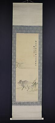 JAPANESE HANGING SCROLL ART Painting  Asian antique  #E5874
