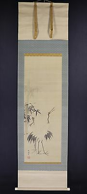 """JAPANESE HANGING SCROLL ART Painting """"Cranes"""" Tani Buncho Asian antique  #E5876"""