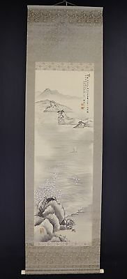 JAPANESE HANGING SCROLL ART Painting Scenery Asian antique  #E5879