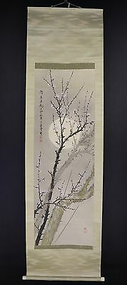 "JAPANESE HANGING SCROLL ART Painting ""Blossoms and Moon"" Asian antique  #E5856"