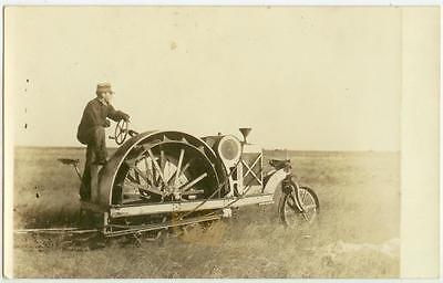 c1910 near McDonald Kansas farmer and his gas tractor Real Photo Allis-Chalmers?