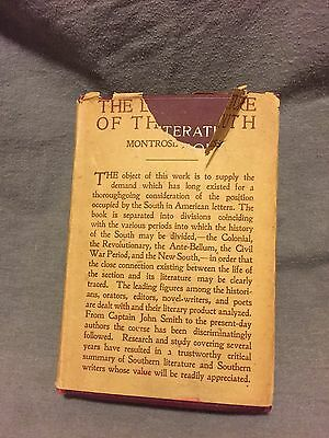 Literature of the South By Montrose J. Moses First Edition 1910 In Ex+ Condition