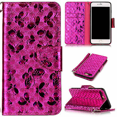 Bling Leather Wallet Magnetic Card Slot Strap Case Flip Cover For iPhone 7 Plus