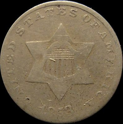 1853 Three Cent Silver VG Very Good Nice Lower Grade Coin
