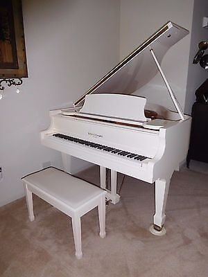 Gorgeous  white grand  piano  ,ships  free  nationwide***