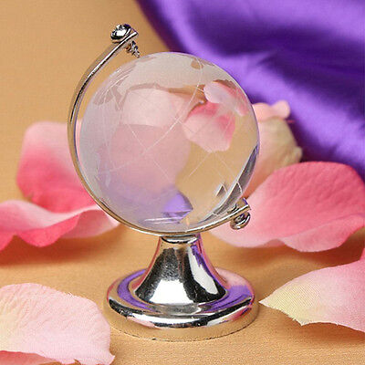 Round Earth Globe World Map Crystal Glass Clear Paperweight Stand Desk Decor New