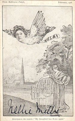 *great Soprano Dame Nellie Melba 1908 Autographed Melbourne Punch Cartoon*