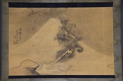 "JAPANESE HANGING SCROLL ART Painting ""Dragon"" Asian antique  #E5757"