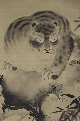 "JAPANESE HANGING SCROLL ART Painting ""Tiger"" Asian antique  #E5629"