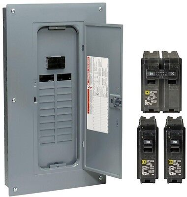 Square D Circuit Breaker Panel Box 100 Amp Indoor Main Plug Neutral Load Center