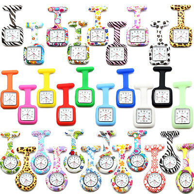 Lovable Patterned Silicone Nurses Brooch Tunic Fob Pocket Watch Stainless Dial