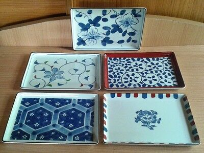 "Set of 5 Japanese glazed square plates 4.5"" x 6.5"" in box"