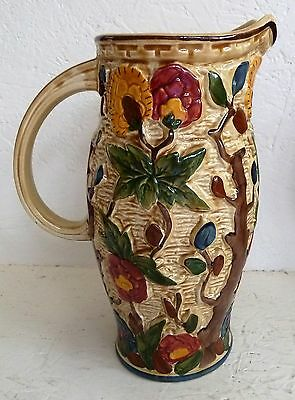 H .J.  Wood Indian Tree Tall 24 cm Jugs Colourful Pottery 579 Handpainted