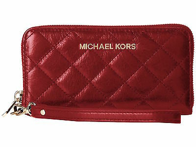 Michael Kors Red Quilted Susannah Leather Continental Zip Around Wallet wristlet