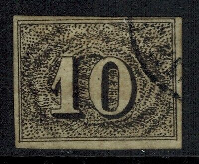 """Brazil #21, 1850 10r black FORGERY """"used"""", small thins, looks VF"""