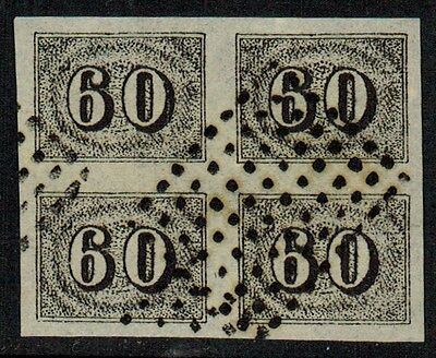 """Brazil #24, 1850 60r black FORGERY block of 4 """"used"""", VF"""