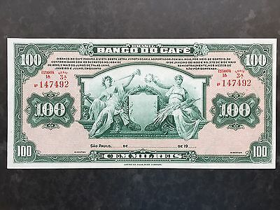 Brazil 100 Mil Reis PS541 Banco do Cafe Unissued Remainder 1890 Uncirculated UNC