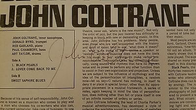 John Coltrane Hand Signed Autographed Jazz LP 1964 - Black Pearls COA