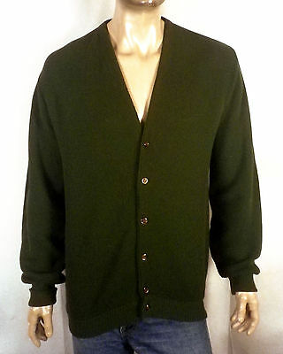vtg 50s 60s Penneys Towncraft Green Cardigan Sweater MINTY kurt cobain SZ XL