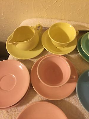 Vintage luray pastels Pink, Green, Blue, Yellow, Tea Cups, Saucers, Yellow Cream