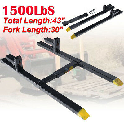 "30"" LW Clamp on Pallet Forks w/ Adjustable Stabilizer Bar 1500lb Capacity Loader"
