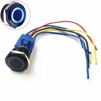 """DC12V 22mm 7/8"""" [Mounting Hole] Blue Ring Led Light Momentary Push Button Switch"""