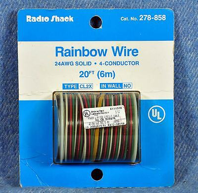 20' spool RADIO SHACK 278-858 RAINBOW WIRE 24AWG Solid Copper 4-Conductor CL2X