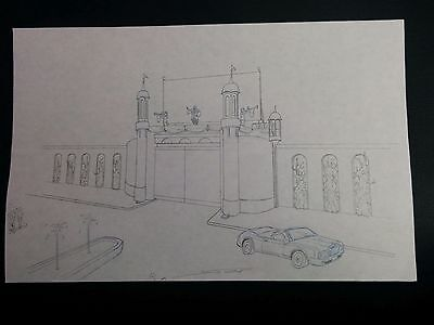 """Disney World VISION GATE Hand Drawn 17"""" Concept Art SIGNED by Mark Simon #MS2"""