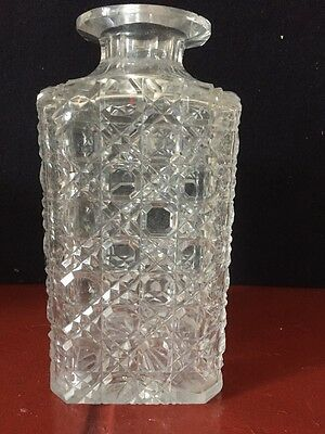 Vintage Hobnail Cut Glass Square Tantalus Decanter