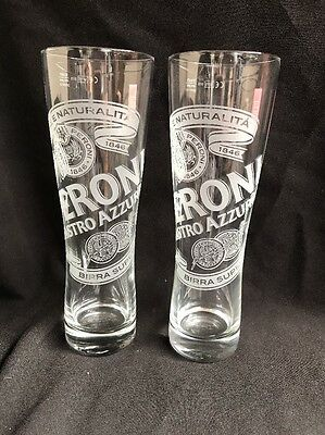 Peroni Italian Lager Pint Glasses Set of 2 Home Bar Pub man cave
