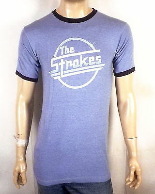 vtg Orig RARE The Strokes Is This It Ringer T-Shirt Blue Grape concert tour M