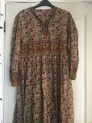 Vintage 70s Block Print Indian Cotton Thin Gauzy Dress Hippy Boho S