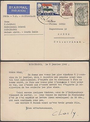 INDIA 1948 AIRMAIL CARD WITH 2V JAI HIND + G VI 4as TO BERNE SWITZERLAND VIA UK