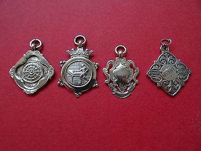 Antique Solid Silver 4 Albert Chain Fobs/Medals
